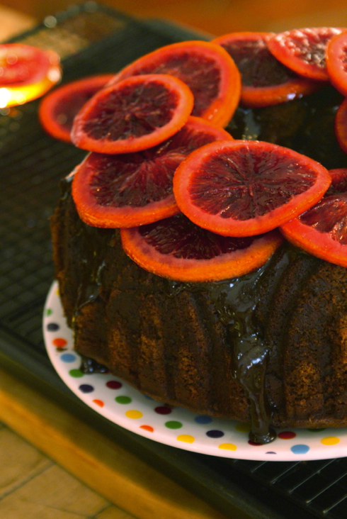 whipped chocolate bundt cake with blood orange curd