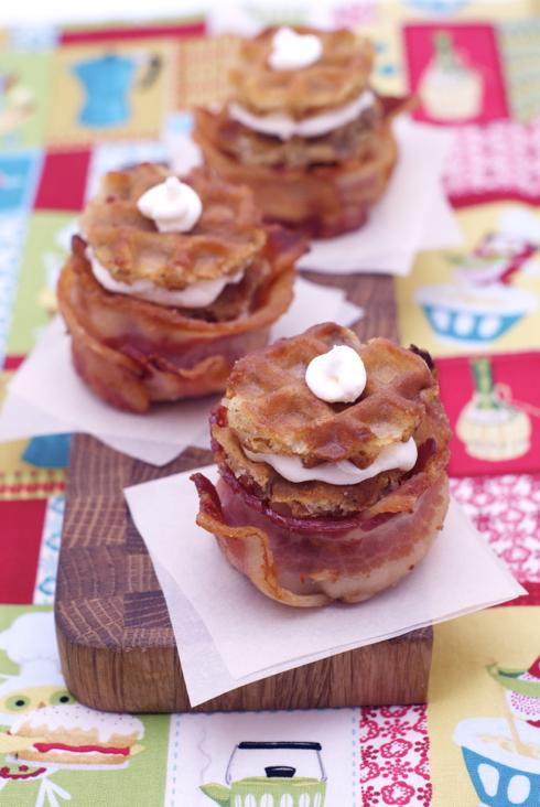 deep fried waffles, maple bacon buttercream in bacon muffinettes