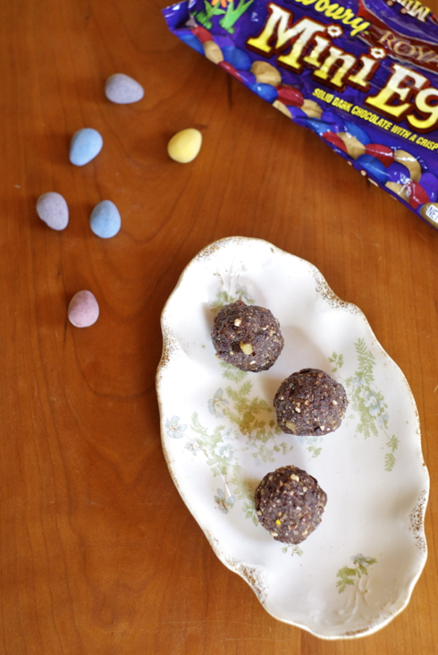 cranberry and cadbury mini egg energy bites