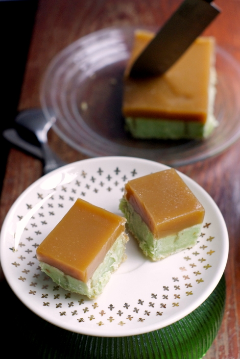 pistachio custard shortbread + rosewater caramel slice